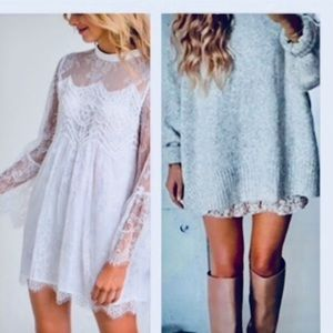 Boho Crochet Lace Scalloped Hem Mini Tunic Dress